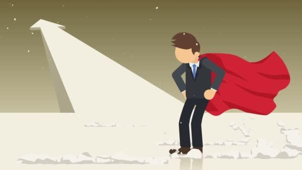 Nyíl grafikon fel. Szuperhős álló közelében egy felhő por. Üzleti szimbólum. Leadership and Challenge koncepció. Képregény animáció.