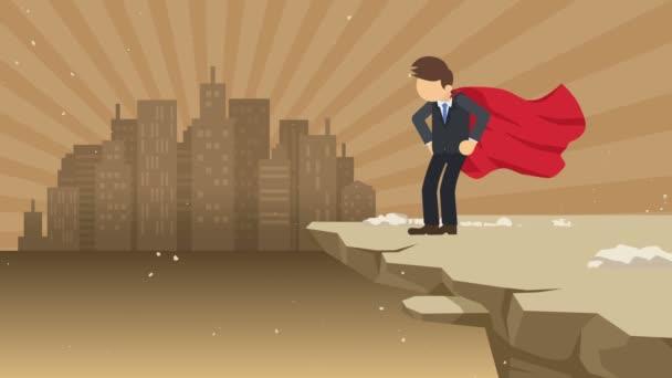 Superhero üzletember állva szikla készen áll a kihívásra. Üzleti szimbólum. Challenge és a siker koncepciója. Képregény animáció.