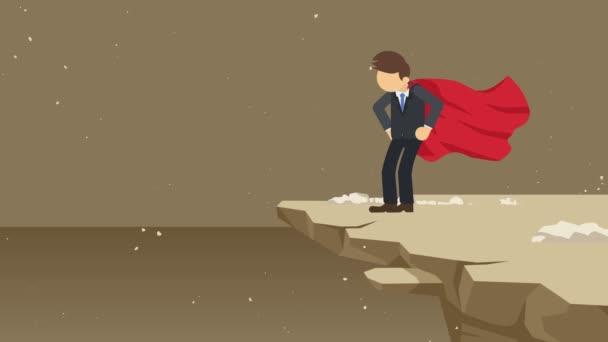 Supereroe uomo daffari in piedi sulla scogliera pronto per la sfida. Simbolo aziendale. Concetto di sfida e successo. Animazione del ciclo comico.