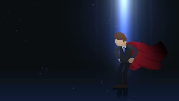 Szuperhős álló reflektorfényben. Üzleti szimbólum. Vezetés és Achievement koncepció. Képregény animáció.