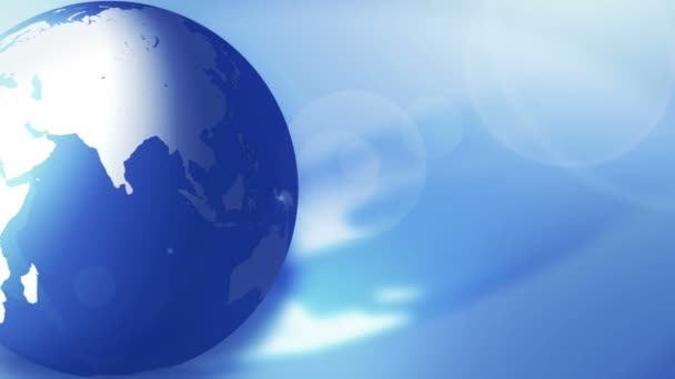 Üzleti föld. Kék csillogó átlátszó föld. Világviszonylatban. Hurok animáció.