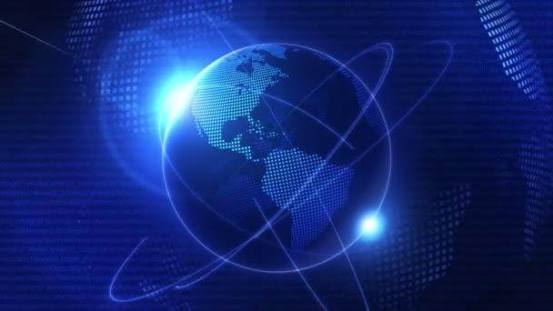Globális üzleti hálózat háttere. Kék föld. Üzleti szimbólum. Hurok animáció.