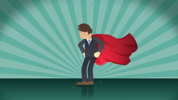 Superhero standing on sunburst background. Sun beam ray background. Business concept. Comic loop animation.