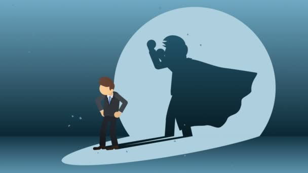 Superhero standing on city background. Near a cloud of dust. Business symbol. Leadership and Achievement concept. Comic loop animation.