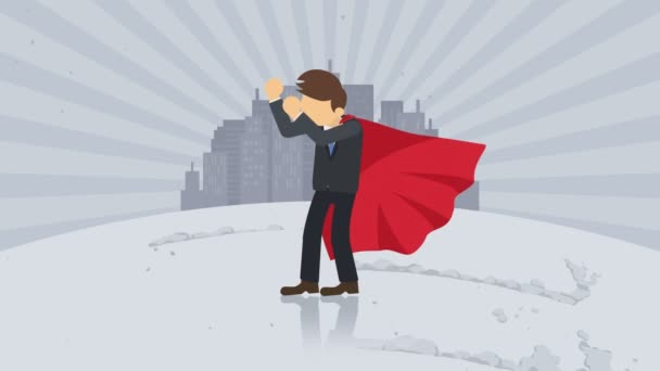 Superhero standing on city background. Dust dance. Business symbol. Leadership and Achievement concept. Comic loop animation.