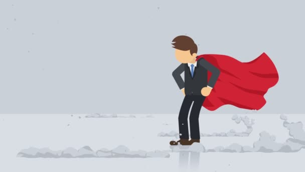 Superhero standing near a cloud of dust. Business symbol. Leadership and Challenge concept. Comic loop animation.