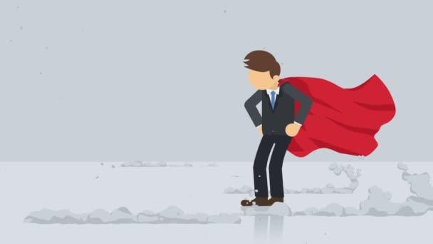 Szuperhős álló közelében egy felhő por. Üzleti szimbólum. Leadership and Challenge koncepció. Képregény animáció.