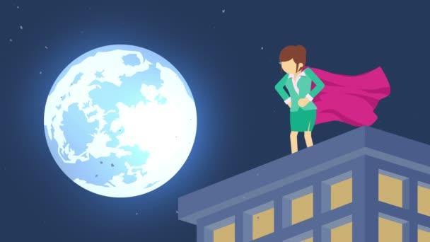 Szuperhős a holdfényben város. A felhőkarcoló felett állva. Üzletasszony szimbóluma. Leadership and Challenge koncepció. Képregény animáció.