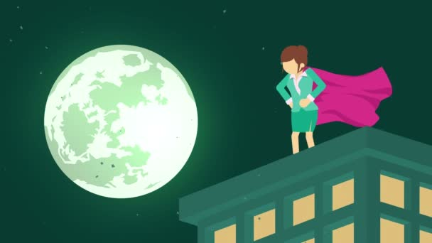 Superhero in moonlight city. Standing over skyscraper. Business woman symbol. Leadership and Challenge concept. Comic loop animation.