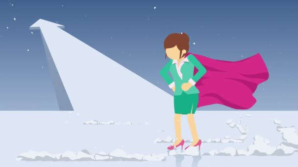 Arrow graph up. Superhero standing near a cloud of dust. Business woman symbol. Leadership and Challenge concept. Comic loop animation.