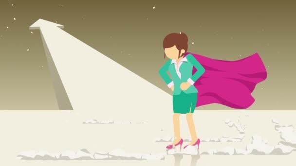 Šipka nahoru. Superhrdina stojící poblíž oblaku prachu. Symbol obchodní ženy. Koncepce vedení a výzvy. Animační smyčka.