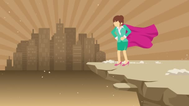 Superhero business woman standing on cliff ready for challenge. Business symbol. Challenge and Success concept. Comic loop animation.
