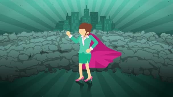 Szuperhős állva város háttérben. Közel egy felhő a por. Üzletasszony szimbóluma. Vezetés és Achievement koncepció. Képregény animáció.