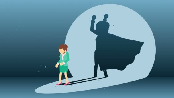 Business woman standing with superhero shadow. Business symbol. Winner and Challenge concept. Comic loop animation.