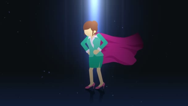 Superhero standing in spotlight. Business woman symbol. Leadership and Achievement concept. Comic loop animation.