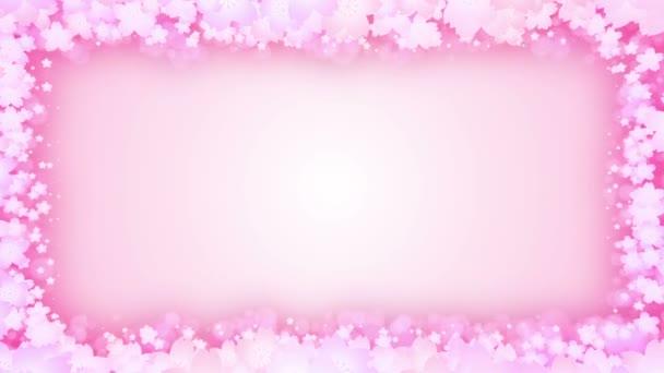 Cherry Blossom keret. Virág részecske. Spin cseresznye virágok. CG-hurok animáció.