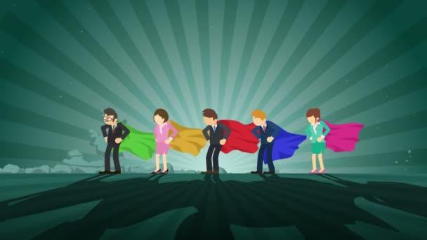 Superheroes álló reflektorfényben. Üzleti csapatgyőztes szimbólum. Csapatmunka és siker koncepció. Képregény animáció.