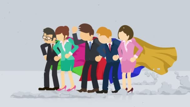 Superheroes standing near a cloud of dust. Business team symbol. Teamwork and Challenge concept. Comic loop animation.