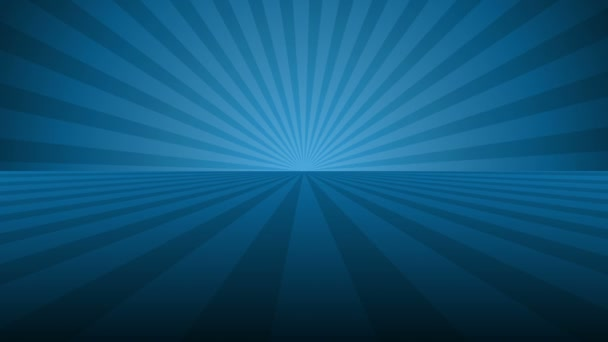 Rotating blue radial rays. Shiny background with ray of light. Blue abstract space. Loop animation.