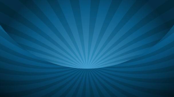 Rotační modré radiální paprsky. Lesklé pozadí s paprskem světla. Modrý abstraktní prostor. Opakovat animaci.