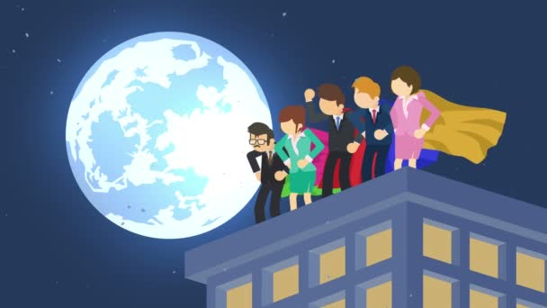 Superheroes in moonlight city. Standing over skyscraper. Business team symbol. Teamwork and Leadership concept. Comic loop animation.
