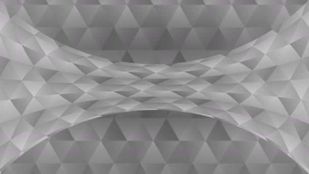 Triangle pattern of geometric shapes. Abstract polygonal loop animation. Monochrome gradient background.