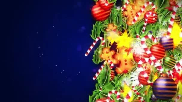 Decorazione di lusso con cristallo di neve. Modello di elementi natalizi. Animazione in loop invernale. Sfondo blu.