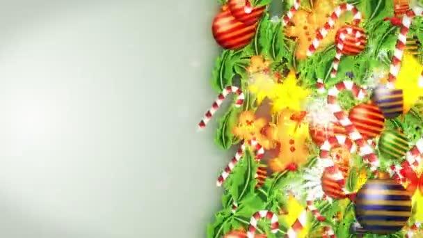 Decorazione di lusso con cristallo di neve. Modello di elementi natalizi. Animazione in loop invernale. Sfondo bianco.