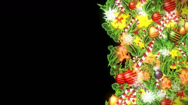 Decorazione di lusso con cristallo di neve. Modello di elementi natalizi. Animazione in loop invernale. Sfondo nero.