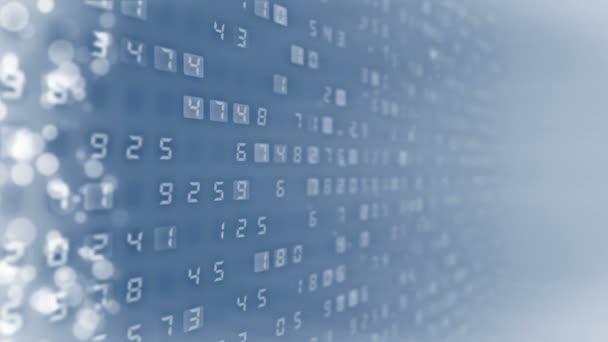 Mnoho čísel v pozadí. Princip financování obchodních číselných údajů Animační smyčka obchodní CG.
