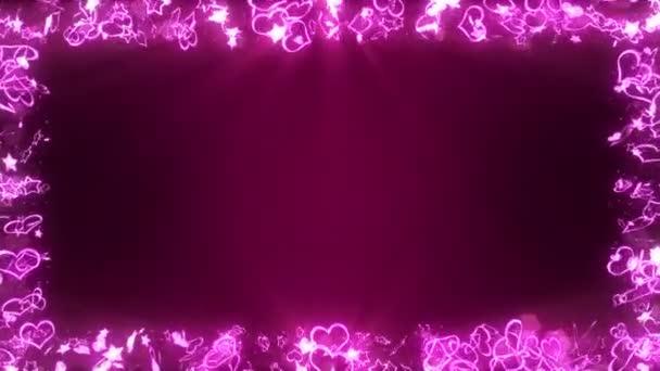 Szikrázik világos szívvel és csillagok. Szerelem és Valentin-nap fogalmát. Romantikus éjszaka. Pink háttér. Hurok animáció.