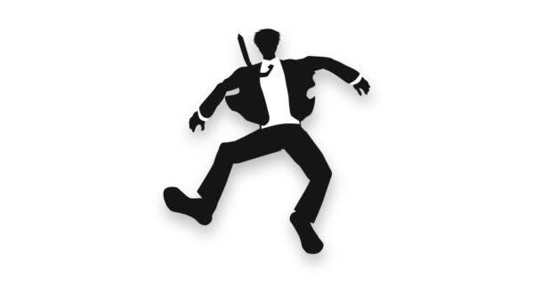 Mann Silhouette fallende Pose. fliegen. Sprung. Misserfolg und Erfolg Geschäftssymbol. Animation einer abstrakten Schleife.