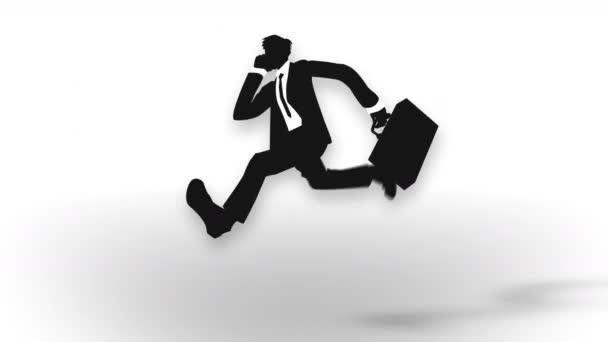 Běžící muž drží aktovku. Obchodní muž uspěje. Dosažení. Animace těžiště abstraktní smyčky.