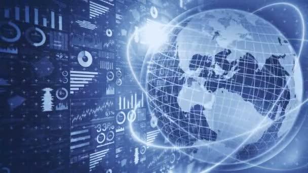 Zeměkoule na zemi 3D s obchodními grafy. Koncept obchodního úspěchu. Mapy a grafy animace kybernetických smyček. Futuristická planeta s hologramem.