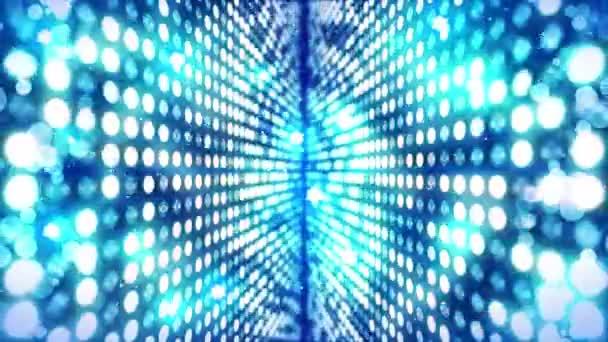 Színpadi világítás háttér sok fény hatása. Absztrakt disco loop animáció. Izzó neonvilágítás és egy üres elhelyezés.