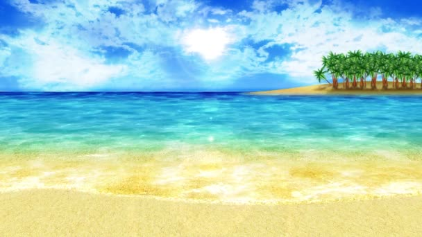 Wave lapping onto the shore. Luxury summer vacation concept. Island with blue sea water. Loop animation.