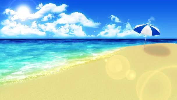 Mávejte na břeh. Přepychový letní koncept dovolené. Ostrov s modrou mořskou vodou. Opakovat animaci.
