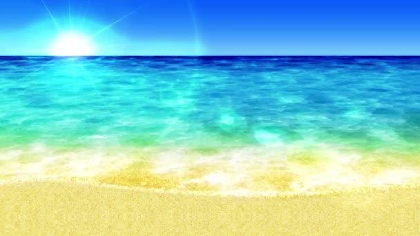 Hullám átfedve rá a partra. Luxus nyári vakáció koncepció. Sziget kék tengervíz. Hurok animáció.