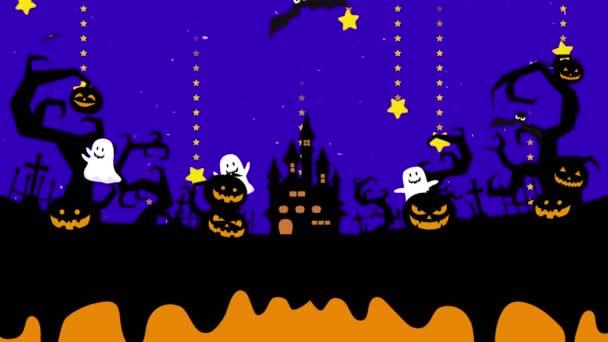 Halloween ilustrace s copyspace. Roztavený prostor pro kreativní design. Tekuté kapky se natéká do animační smyčky. Mystické dýně, duch a hrad v lese. Černí netopýři.
