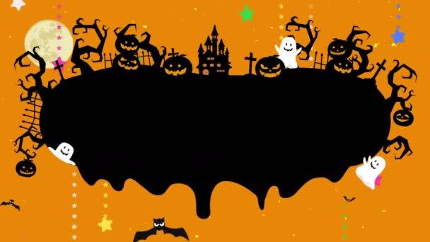 Halloween illusztráció a copyspace. Olvasztott hely a kreatív tervezés. Folyékony csepp folyik a Halloween hurok animáció. Misztikus tök, kísértet és vár az erdőben. Repülő fekete denevérek.