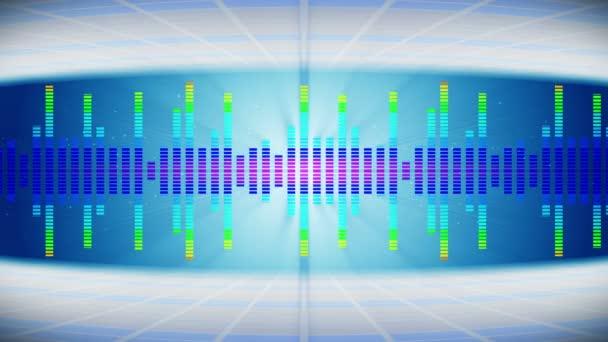 Színes hanghullámok a Party. Disco háttere. Absztrakt színes hullámminta. Zenei hangszínszabályzó loop animáció.