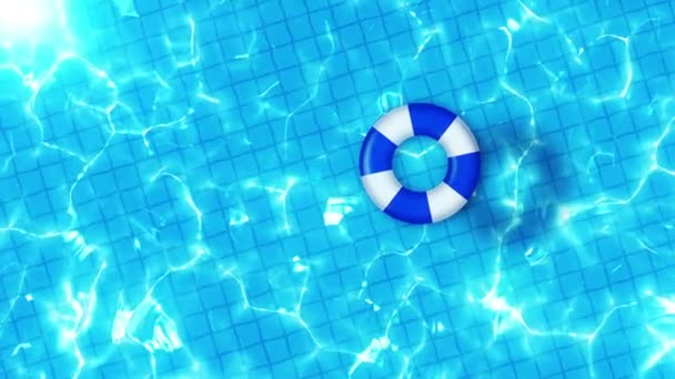 Letecký výhled na bazén. Modrá nafuatelná hračka. Koncepce relaxace a léčení.