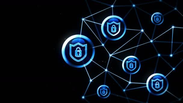 Pajzs védelem biztonsági zár ikonnal. Internet kapcsolat. Tűzfal, jelszó, védelem. Adatvédelem jel lebegik.Poligonális tér összekötő pontokkal és vonalakkal. Wireframe poligon és ikon.