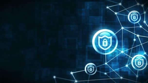 Ochranný štít s ikonou bezpečnostního zámku. Internetové připojení. Brána firewall, heslo, ochrana. Plovoucí znak ochrany osobních údajů.Mnohoúhelníkový prostor s spojujícími tečkami a čárami. Mnohoúhelník a ikona rámečku.