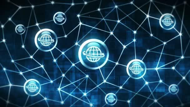 Server-Datenraum mit frei schwebenden Erdsymbolen. Internetverbindungsstruktur. internationale Kommunikation. Geschäftskonzept. Polygonaler Raum mit Verbindungspunkten und Linien. Drahtgestell-Polygon und Symbol.