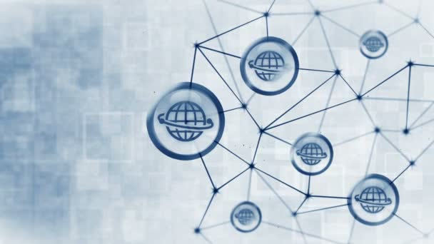 Datový prostor serveru s plovoucími ikonami Země. Struktura připojení k Internetu. Mezinárodní komunikace. Obchodní koncepce.Mnohoúhelníkový prostor s spojovacími tečkami a čárami. Mnohoúhelník a ikona rámečku.