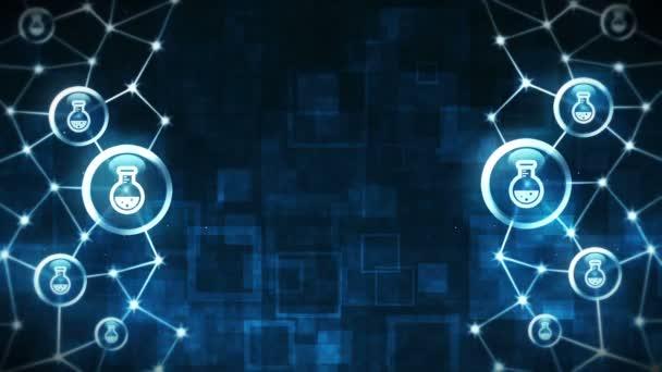 Rundkolben mit Flüssigkeit. Chemie-Becher-Ikonen schweben. Medizin und chemische Verbindung. Polygonaler Raum mit verbindenden Punkten und Linien. Drahtgestell-Polygon und Symbol.
