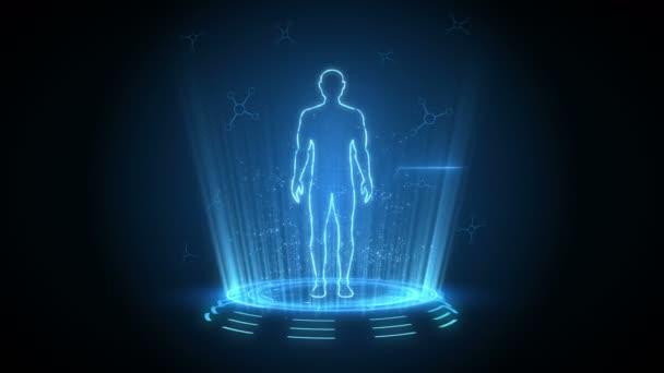 Mužské virtuální tělo. Lidská hologramová animace. Graf, Diagram, Infographic. Koncept medicíny a zdravotní péče. Uživatelské rozhraní. Animace smyčky high tech future.
