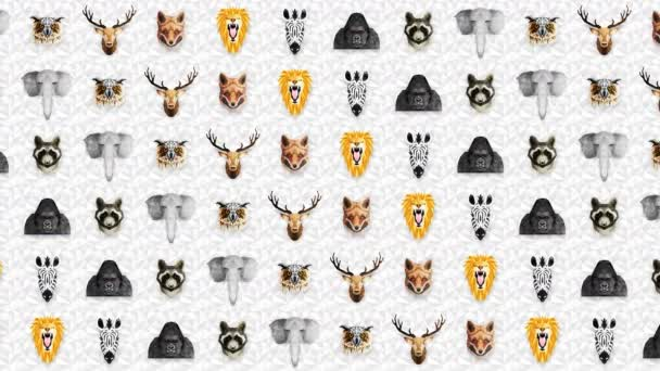 Collection of different animals. Zoo symbol. Low polygon icons. Lion, Gorilla, Zebra, Raccoon, Fox, Elephant, Deer, Owl. Geometric loop animation set.
