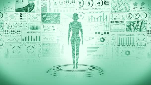 Ženské virtuální tělo. Lidská hologramová animace. Graf, Diagram, Infographic. Koncept medicíny a zdravotní péče. Uživatelské rozhraní. Animace smyčky high tech future.